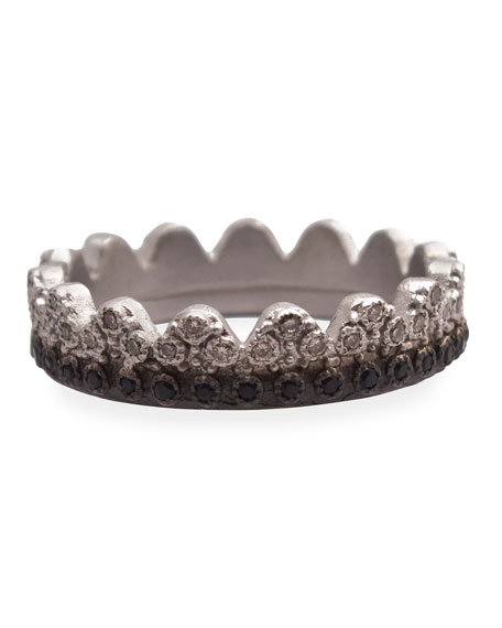 New World Petite Crown Ring with Diamonds & Black Sapphires