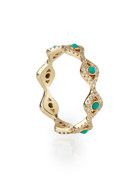 Sydney Evan Turquoise Cabochon & Diamond Evil Eye Eternity Ring