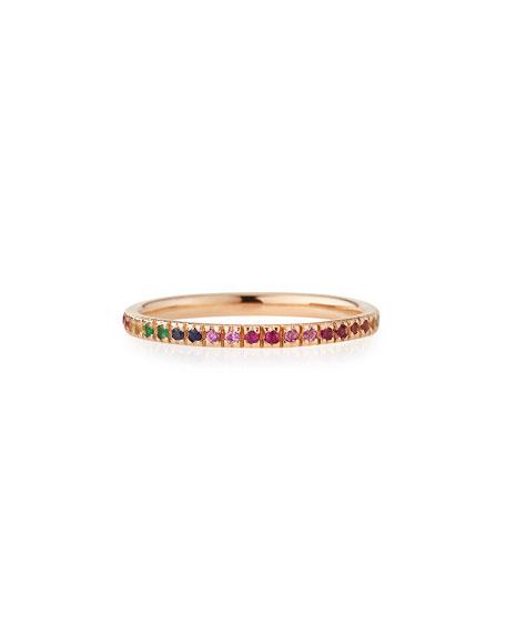 14k Rose Gold Rainbow Ring