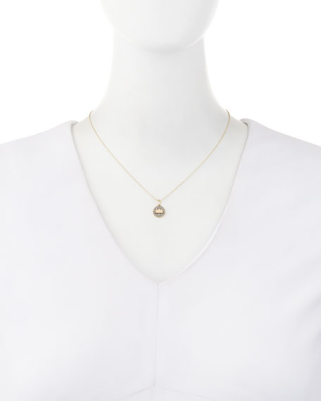 Sydney Evan Lotus Medallion Necklace with Diamonds