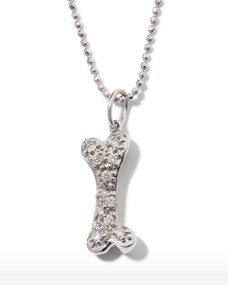 Sydney Evan 14k Gold & Diamond Dog Bone Pendant Necklace