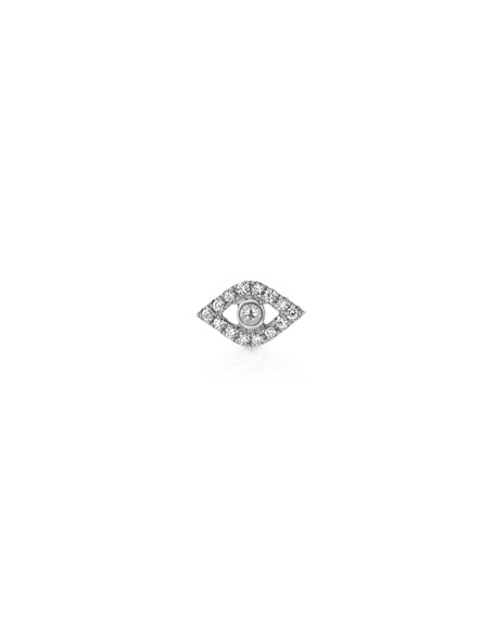 14K Diamond Evil Eye Stud Earrings