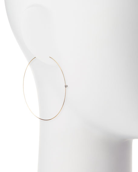 Image 2 of 2: Large Magic Diamond Hoops, Yellow Gold