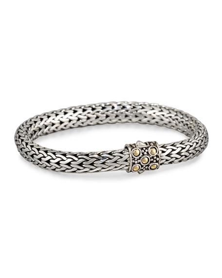 Dot Silver & 18k Gold Oval Bracelet, Medium