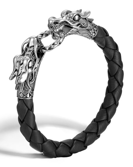John Hardy Woven Leather & Dragon-Head Bracelet