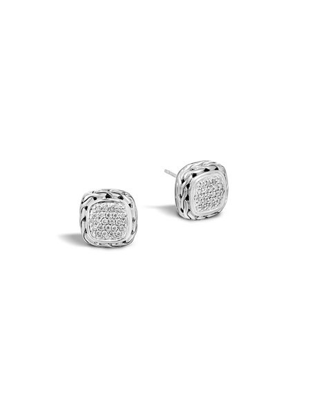 John Hardy Pave Diamond Square Stud Earrings