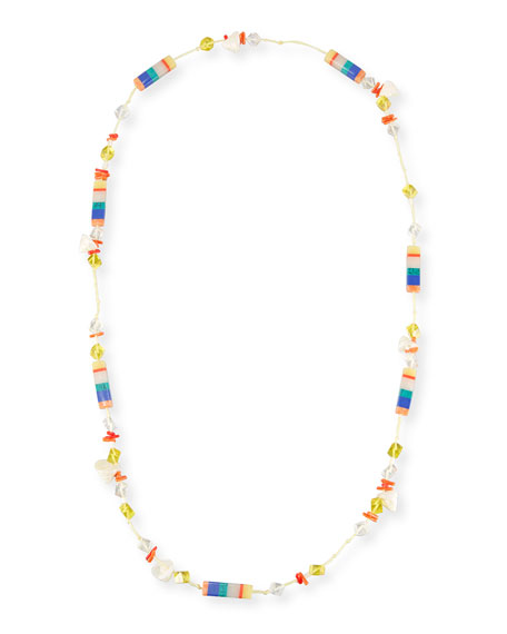"Plankton Striped Howlite Station Necklace, 40"""