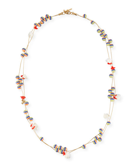 Lele Sadoughi Striped Shell Knotted Necklace, 34