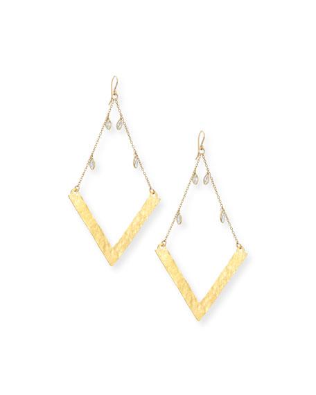 Devon Leigh Golden Wedge Dangle Drop Earrings