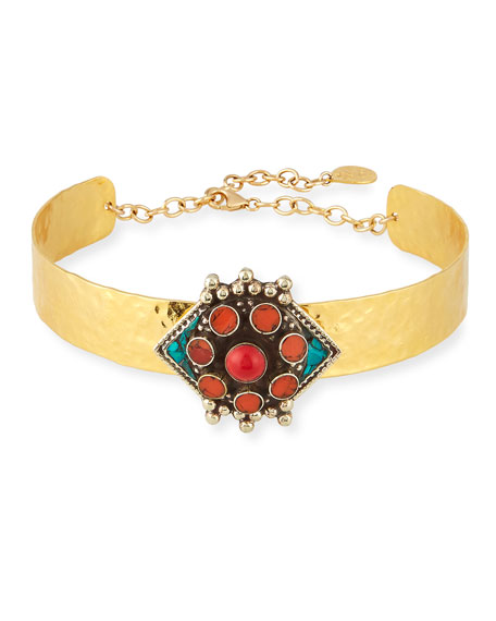 Devon Leigh Choker Necklace with Turquoise & Coral Flower Medallion 0ytOe