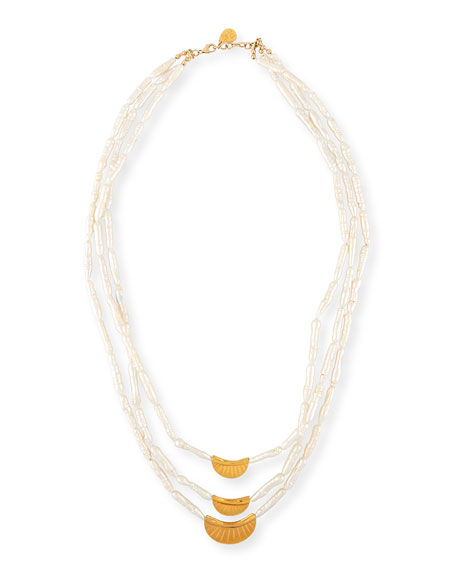 Devon Leigh Three-Strand Stick Pearl Necklace