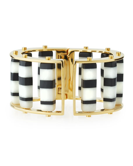 Lele Sadoughi Striped Hinge Barrel Slider Bracelet, Black/White