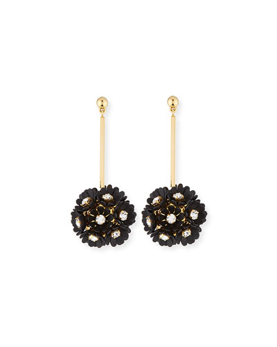 Plumeria Crystal Drop Earrings, Black