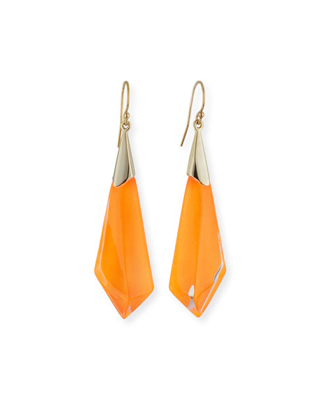 Faceted Lucite Drop Earrings, Orange