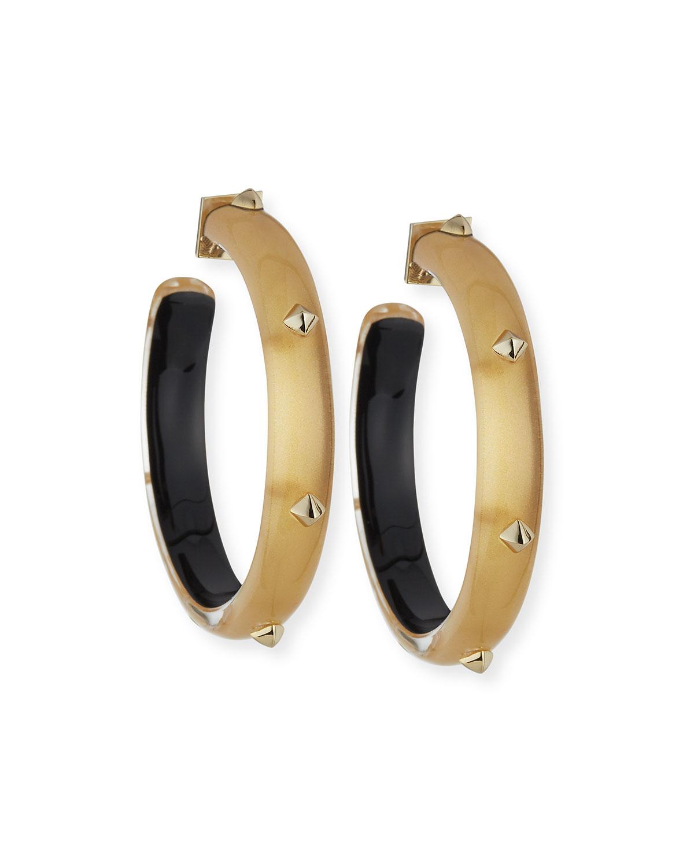 Studded Lucite Hoop Earrings Golden