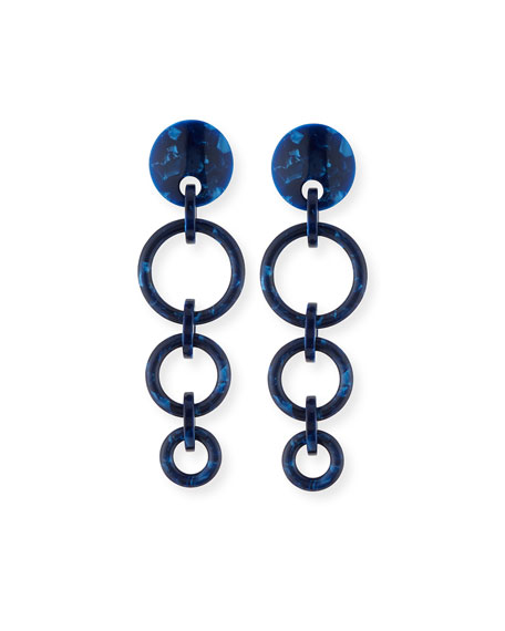 Lele Sadoughi Marbled Wind Chime Earrings, Ocean Blue