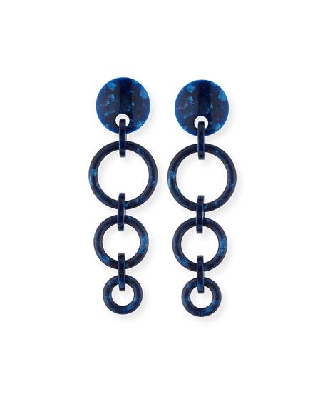 Marbled Wind Chime Earrings, Ocean Blue