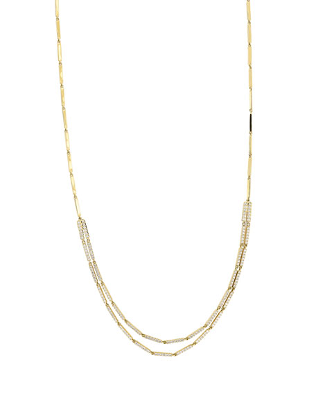 Diamond Double Bar Necklace in 14K Yellow Gold