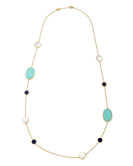 Image 3 of 3: Ippolita 18k Polished Rock Candy Turquoise Station Necklace