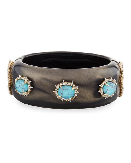 Alexis Bittar Satin Liquid Hinge Bracelet, Dark Gray/Turquoise