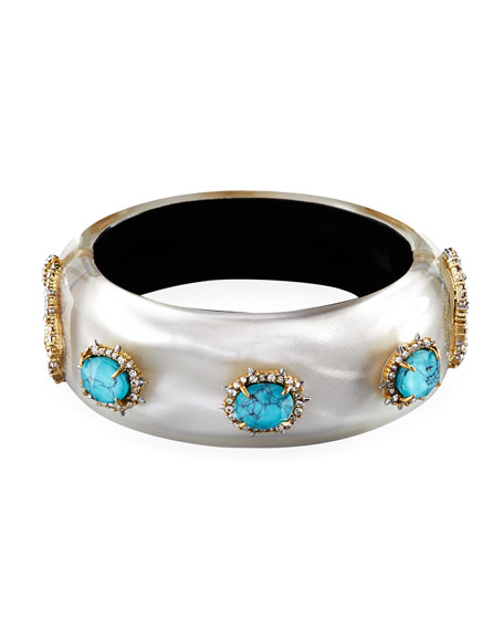 Alexis Bittar Satin Liquid Hinge Bracelet, Silver/Turquoise