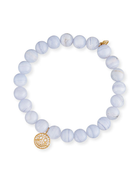 Anniversary Blue Lace Agate Beaded Bracelet with Diamond Smiley Charm