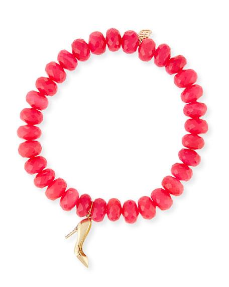 Sydney Evan 8mm Hot Pink Chalcedony Beaded Bracelet with Diamond Stiletto Charm
