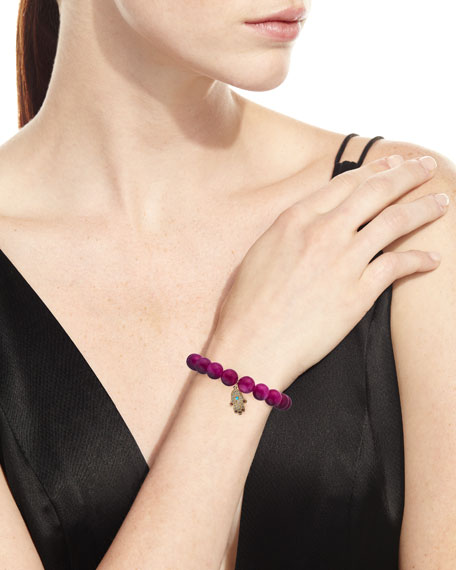Sydney Evan 10mm Beaded Berry Jade Bracelet with Diamond & Ruby Hamsa Charm