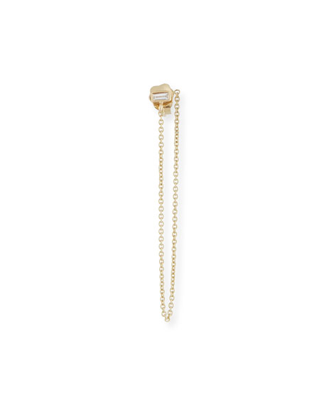 Baguette Diamond Chain Drop Earring