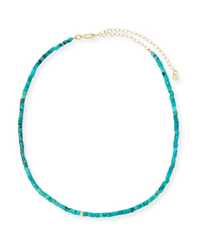 Beaded Turquoise Necklace with Diamond Rondelle