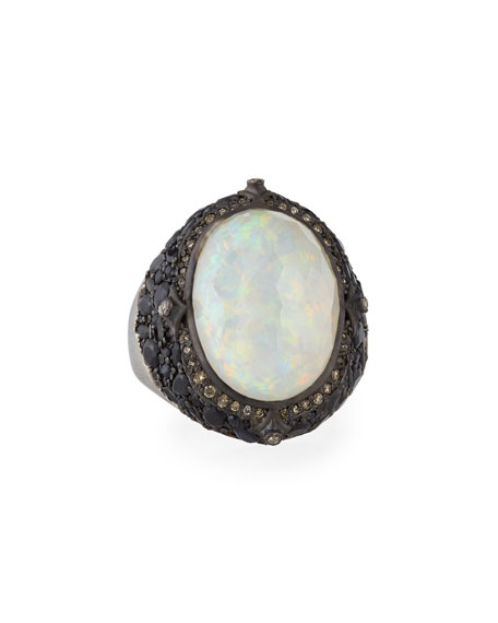 Armenta New World Blackened Silver Opal Triplet Ring