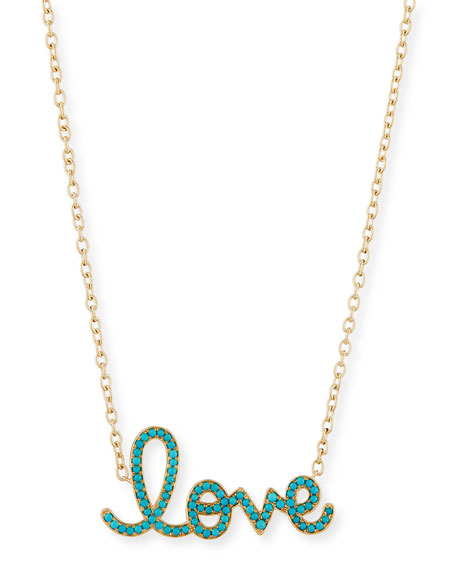 XL Turquoise Love Necklace in 14K Yellow Gold