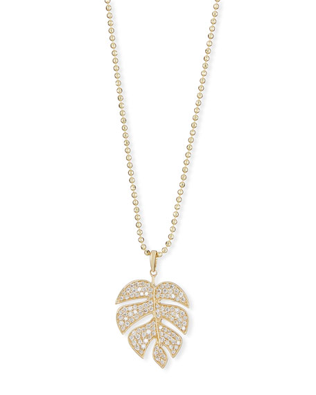 Sydney Evan Pavé Diamond Monstera Leaf Necklace