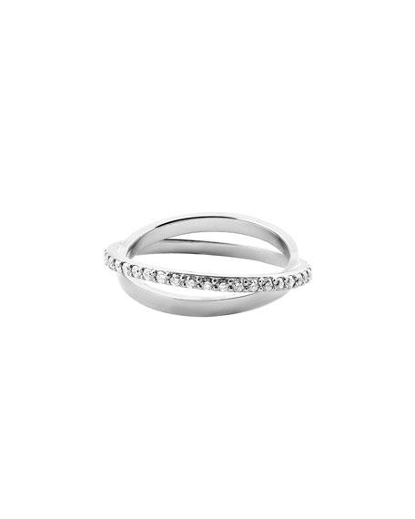 Diamond Twist Ring in 14K White Gold, Size 7