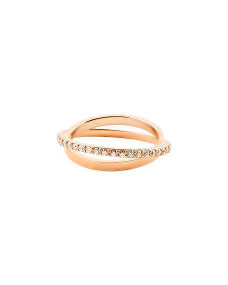 Diamond Twist Ring in 14K Rose Gold, Size 7