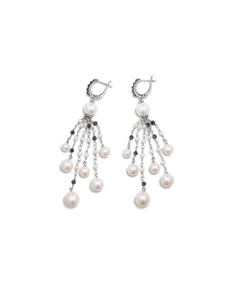 Oceanica Pearl & Black Spinel Tassel Earrings