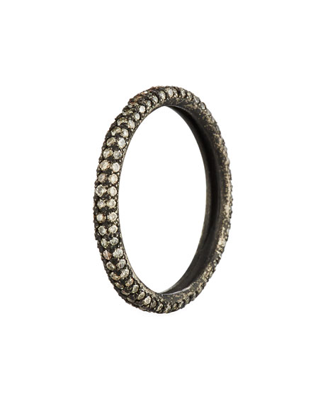 Armenta Old World Blackened Band Ring with Champagne Diamonds