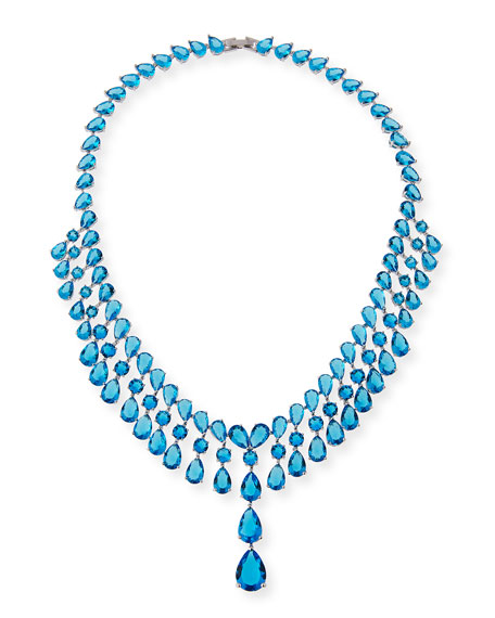 Fallon Monarch Raindrop Bib Necklace, Blue