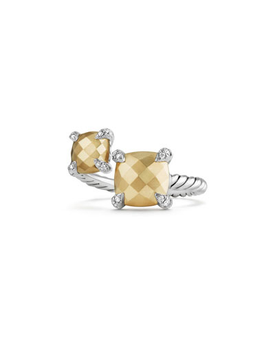 Châtelaine 18K Gold & Sterling Silver Bypass Ring with Diamonds