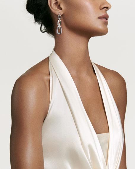 Wellesley Sterling Silver Link Drop Earrings with Diamonds