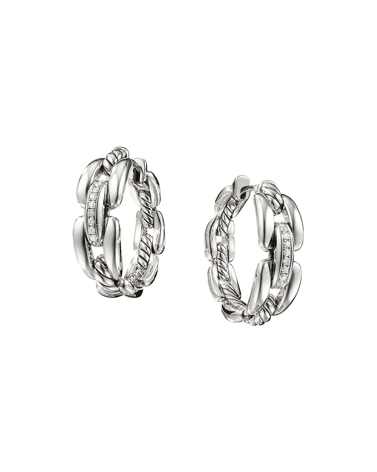 Wellesley Sterling Silver Small Hoop Earrings With Diamonds