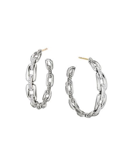 Wellesley Sterling Silver Large Hoop Earrings with Diamonds
