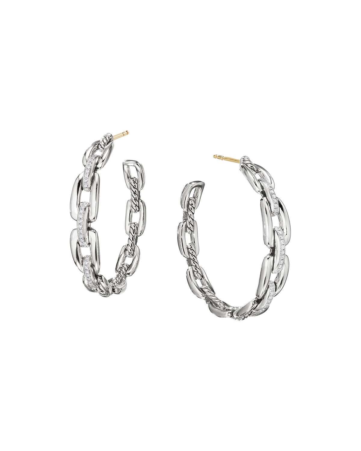 Quick Look David Yurman Wellesley Sterling Silver Large Hoop Earrings With Diamonds