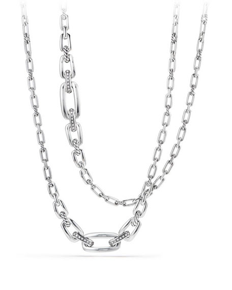 Wellesley Sterling Silver Long Chain Necklace with Diamonds