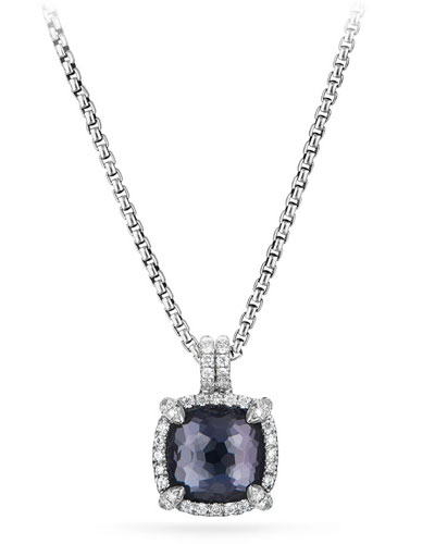Châtelaine Faceted Lavender Amethyst & Hematite Pendant Necklace with Diamonds
