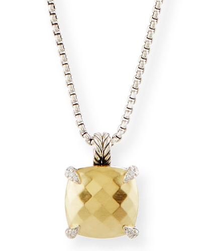 14mm Châtelaine 18K Gold Dome Pendant Necklace with Diamonds