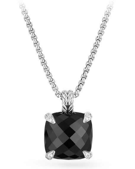14mm Châtelaine Onyx Pendant Necklace with Diamonds