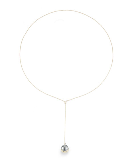 Mizuki Fluid Tahitian Pearl Lariat Drop Necklace
