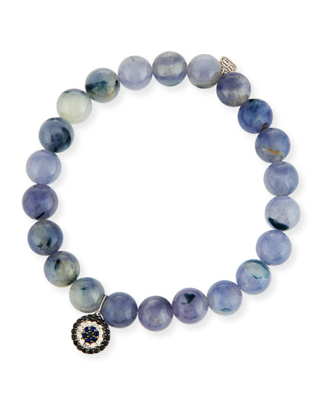 Sydney Evan 8mm Beaded Iolite Bracelet with Sapphire