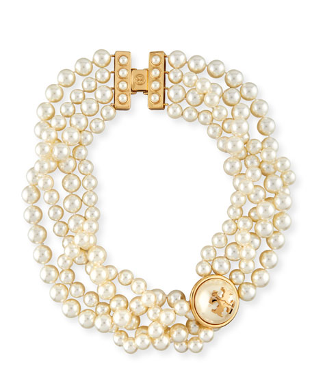 Crystal Simulated Pearl Statement Necklace